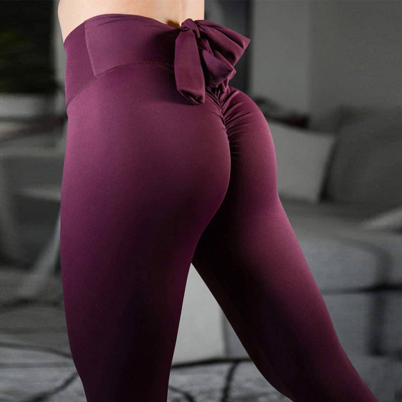 Four Colors Fashion Slim Leggings For Women High Waist Sexy Hips Jeggings Stretch Fitness Pants Bow-Knot Leggins Women Leggings