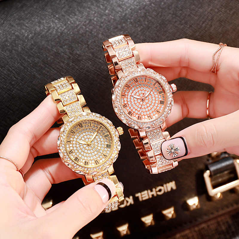2020 Vrouwen Horloge Vrouw Luxe Merk Gouden Klok Lady Horloges Kristal Vrouwelijke Dames Quartz Horloge Mode Vrouwen Horloge