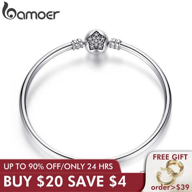 BAMOER autentyczne 100% 925 srebrny łańcuszek żmijka łańcuch bransoletka i bransoletka Pave gwiazda cyrkonia CZ DIY biżuteria