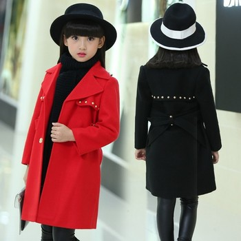 Baby Girls Wool Coat Kids Snowsuit Winter Jackets for Girl Long Woolen Coat Thick Girls Overcoats 4-16Y Cotton Children Clothes 2017 girls new year clothes autumn winter detachable fur collar wool coat for baby girl thick cotton padded coat with skirt