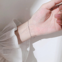 ANENJERY Delicate Thin Chain Bracelet For Women Anti-allergic Silver Color Bracelet With S925 Stamp Gift S-B399