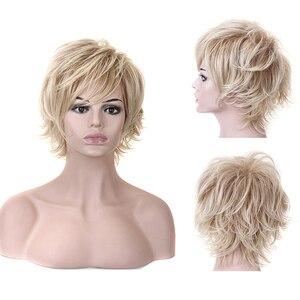 Image 3 - HAIRJOY 합성 머리 여자 라이트 금발 짧은 레이어 곱슬 가발 4 색 무료 배송