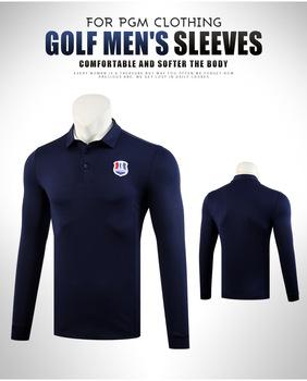 PGM męska koszulka z długimi rękawami skręcić w dół kołnierz odzież golfowa oddychające mięśni odzież sportowa koszule M-XXL D0834 tanie i dobre opinie Pełna Poliester Pasuje prawda na wymiar weź swój normalny rozmiar Oddychająca Anty-pilling Szybkie suche Wiatroszczelna