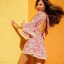 TEELYNN فستان وردي 2020 رايون طويل الأكمام الأزهار طباعة الخريف فساتين قصيرة للنساء فساتين حديقة حفلة بوهو فستان vestidos