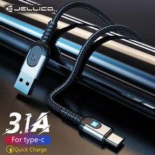 Кабель Jellico USB Type-C для Samsung S10 S9 3A, быстрая зарядка USB Type-C, зарядный дата-кабель для Redmi note 8 pro, USB-C, провод
