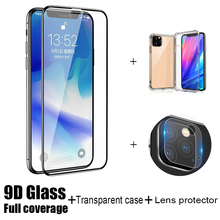 For iphone 11 pro max X XS XR 7 8 6 6S plus Screen Protector + case silicone Camera Lens film 3-in1 for