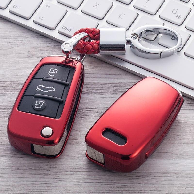 TPU Car Styling Soft TPU Auto Key Protection Cover Case For Audi C6 A7 A8 R8 A1 A3 A4 A5 Q7 Car Holder Shell Car-Styling