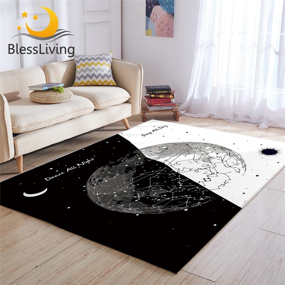 Rug Black White Stylish Living Room