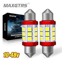 2x24V Festoon C5W C10W 3030 칩 전구 Canbus 31mm/36mm/39mm/41mm 자동차 LED 램프 인테리어 돔 독서 번호판 조명 6000K