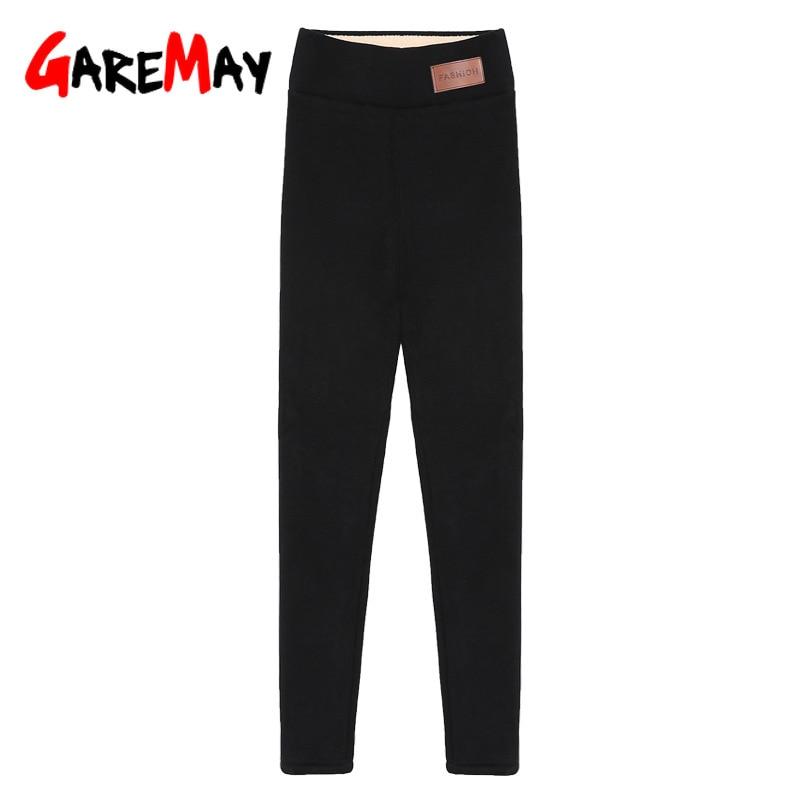 Image 5 - Black warm pants winter skinny thick velvet wool fleece girls leggings women Trousers Lambskin Cashmere Pants For Women leggings-in Leggings from Women's Clothing