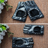 1 Pair Halloween Black Pu Leather Fingerless Gloves Female Half Finger Driving Women Fashion Punk Gloves Dance Rivets Gloves 6