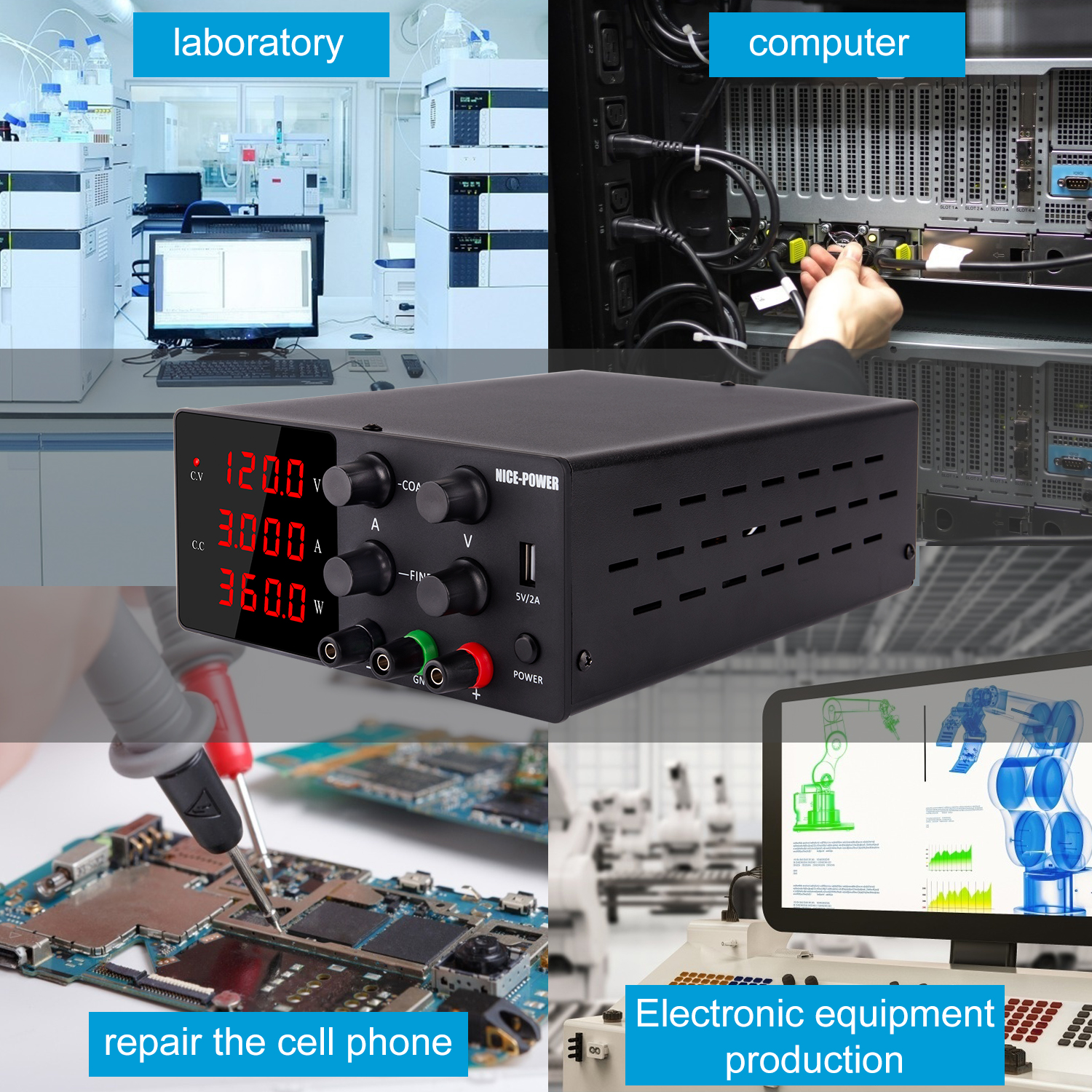 120V 3A Adjustable Power Supply Laboratory Digital Power Supply 30V 10A 60V 5A Bench Source Digital With USB Repair Products-3