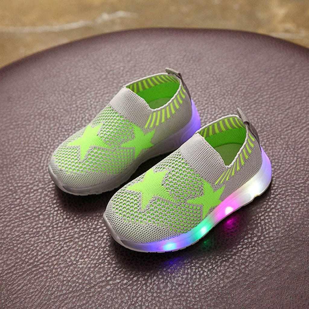 ילדי תינוק בנות בני רשת כוכב Led זוהר ספורט לרוץ סניקרס נעליים יומיומיות חדש הגעה 2019 Dropship משלוח-חינם אוקטובר 21