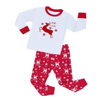 100 Cotton Boys and Girls Long Sleeve Pajamas Sets Children's Sleepwear Kids Christmas Pijamas Infantil Homewear Nightwear - PA01, 4