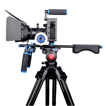 Pro Camera Rig Cage Shoulder Mount Video Rig For Canon 5D Mark III IV 6D 7D Nikon Sony A7 GH5 GH4 DSLR Cameras and DV Camcorders aluminum alloy handheld camera video support kit dslr cage set with follow focus matte box for sony a7s a7 a7r a7rii a7sii gh4