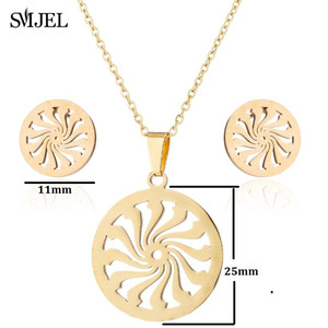 Image 2 - SMJEL Islam Muslim Allah Religious Pendant Necklaces for Men Women Swirl Coin Gold Sun Flower Earings Woman Kid Jewelry Set Gift