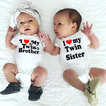 I Love My Twin Brother Sister Funny Newborn Cotton Rompers Twins Baby Boys Girls Short Sleeved Cute Matching Jumpsuit Clothes Buy At The Price Of 2 17 In Aliexpress Com Imall Com