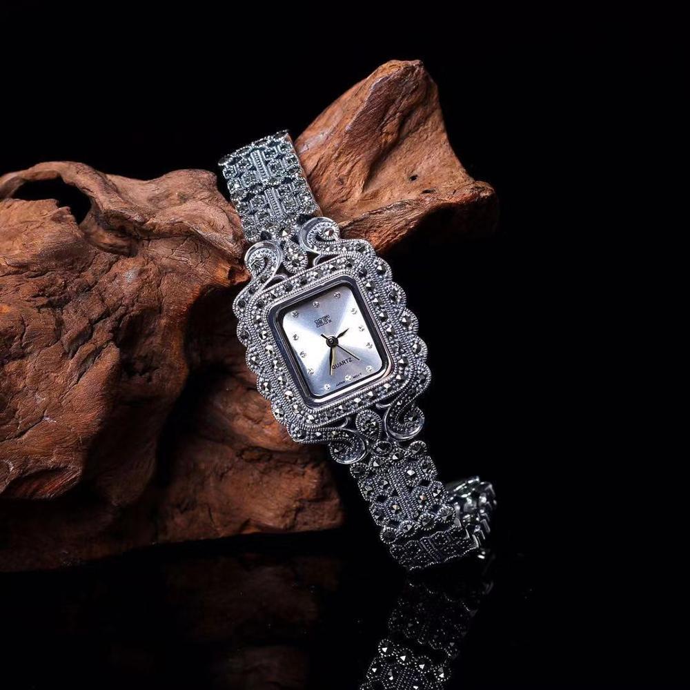 New Fashion Classic Elegant S925 Silver Pure Thai Silver Flower Bracelet Watches Thailand Process Rhinestone Bangle Dresswatch|Women's Watches| |  - title=