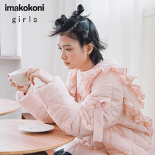 imakokoni pink round neck straight cotton jacket original design cute solid color thick warm women's cotton jacket a/w