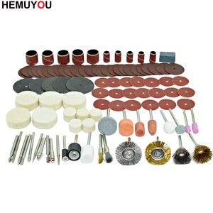 Image 2 - 100 pces/gravador ferramentas abrasivas acessórios dremel conjunto de acessórios ferramenta rotativa se encaixa para dremel broca moagem polimento lâmina de serra