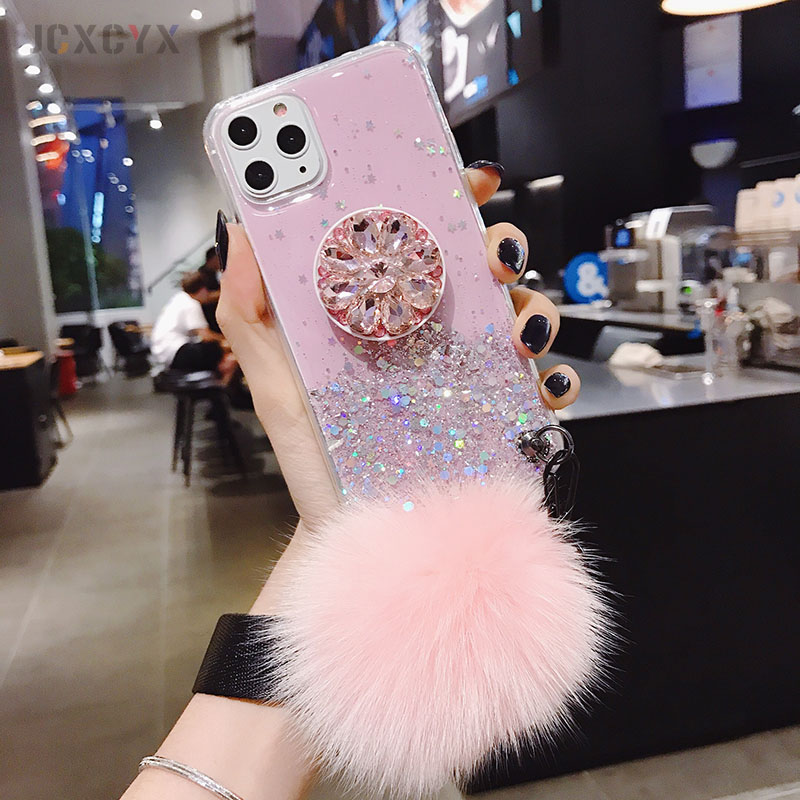 Luxury diamond cute hair ball lanyard bracket soft case for iphone 7 X XR XS 11 Luxury diamond cute hair ball lanyard bracket soft case for iphone 7 X XR XS 11 pro MAX 8 6S plus for samsung S10 S8 S9 Note A50