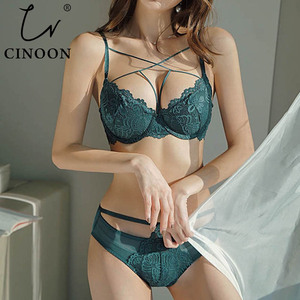 Image 1 - CINOON New Sexy Bandage Underwear Set Push up Bra Set Embroidery Women Lingerie High Quality Lingerie Set 3/4 Cup Lace Brassiere