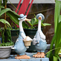Pato ornamentos resina artificial pato jardim escultura estátua animal casal decoração simulação lagoa decoração paisagem artesanato