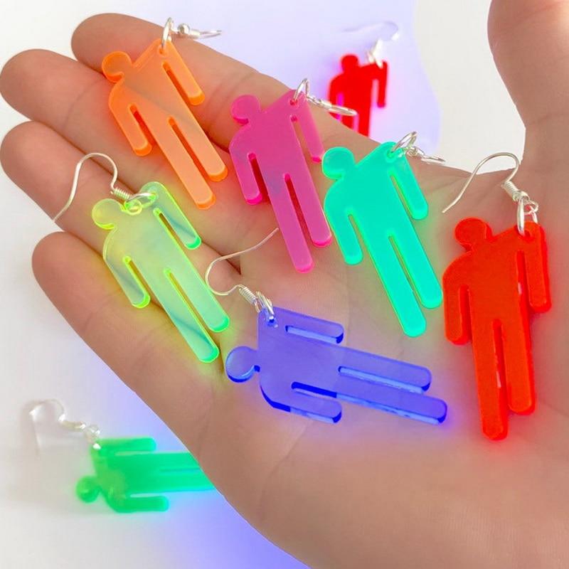 Iridescent Rainbow Clear Ice Billie Eilish Blohsh Style Male Figure Shape Acrylic Earrings