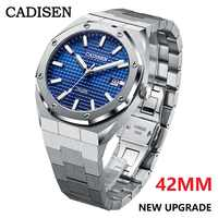 CADISEN-relojes mecánicos automáticos para hombre, de 42MM, NH35A, azul, 100M, resistente al agua, de lujo, informal, de negocios