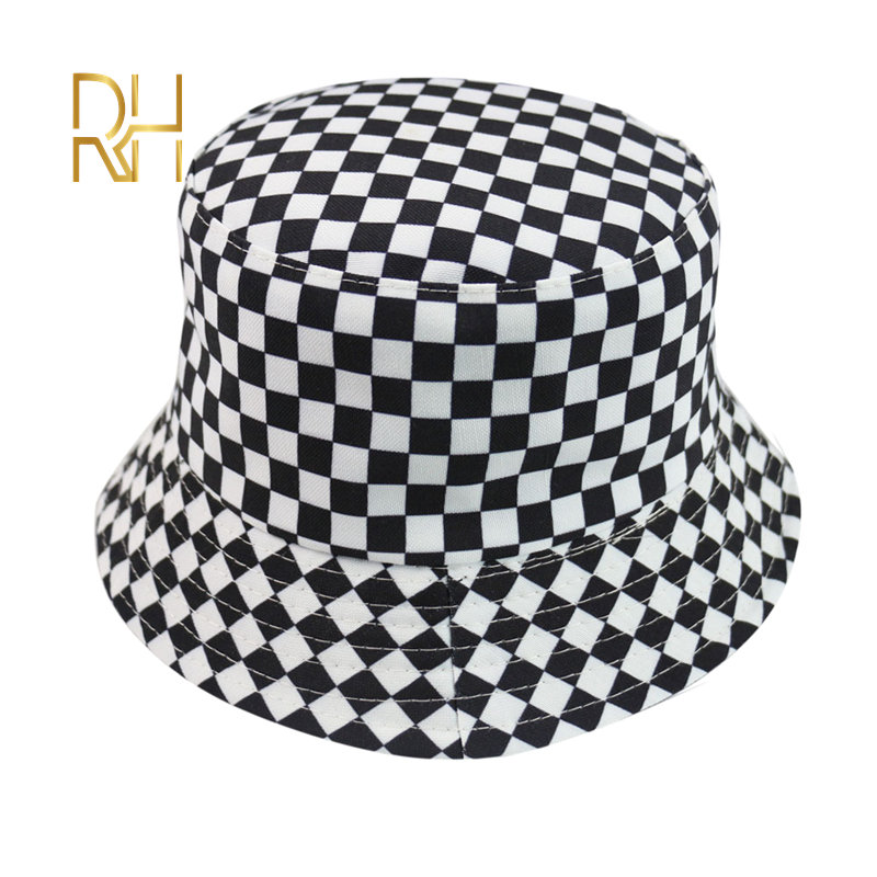 2020 חדש שני צד הפיך שחור לבן משובץ דלי כובעי דיג כובעי נשים גברים כובע קיץ אופנה שמש כובע RH