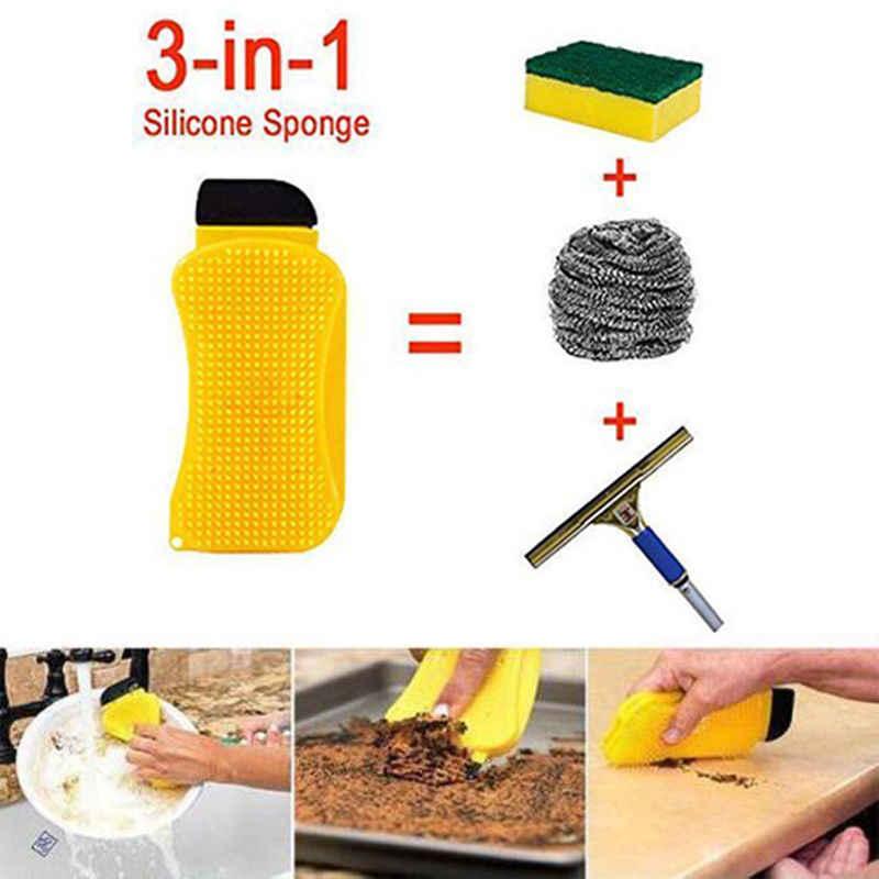 תכליתי סיליקון ניקוי מברשות שימושי כביסה ספוג מטבח ניקוי קערת מחבת קערת צלחת מברשת קל נקי בישול כלי