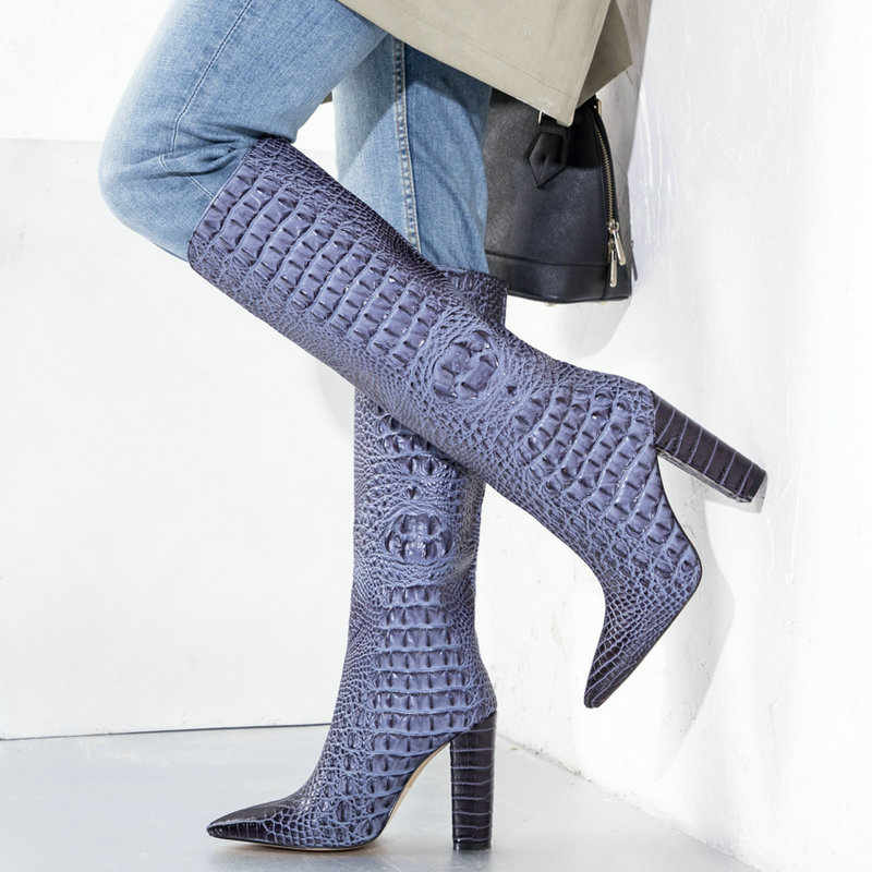 Brand Boots Faux Crocodile Leather Women Boots Spring Autumn Knee High Boots Fashion Square High Heels Winter Ladies Shoes