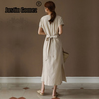 Pure Color Cotton and Linen Womens Dresses with Bow Round Neck Short Sleeve Split Side Long Dress Summer Casual Long Sundress