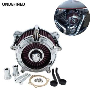 Image 2 - Chrome Air Filter Motorcycle Turbine Intake Air Cleaner For Harley Touring Road King Street Glide Dyna FXR Softail Twin Cam EVO