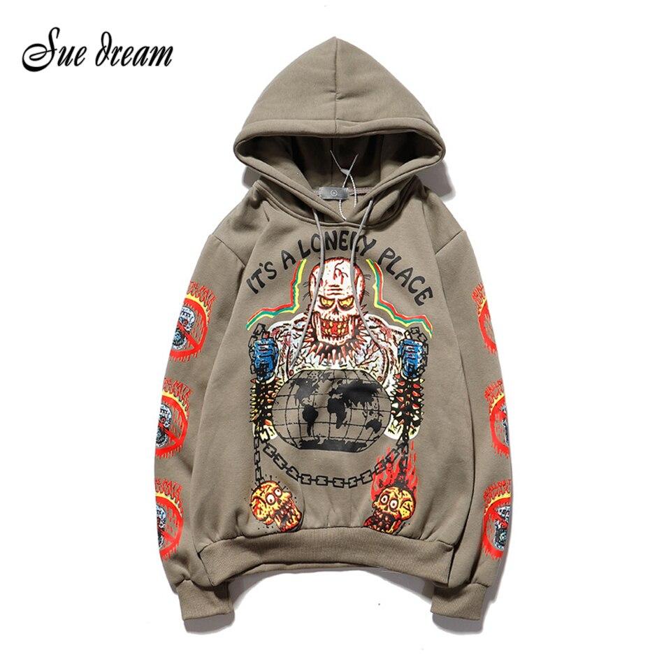 Kanye Hip Hop Graffiti Plus Velvet Hooded Sweatshirt Streetwear Hoodie Men And Women Harajuku Stranger Things Mens Hoodies