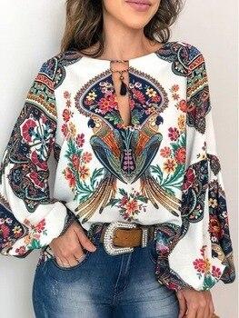 Boho Floral Print Blouse Shirt Women Casual Loose Sexy Long Sleeve Vintage Autumn Chic Blouses Female Lantern Sleeve Tops Blusas