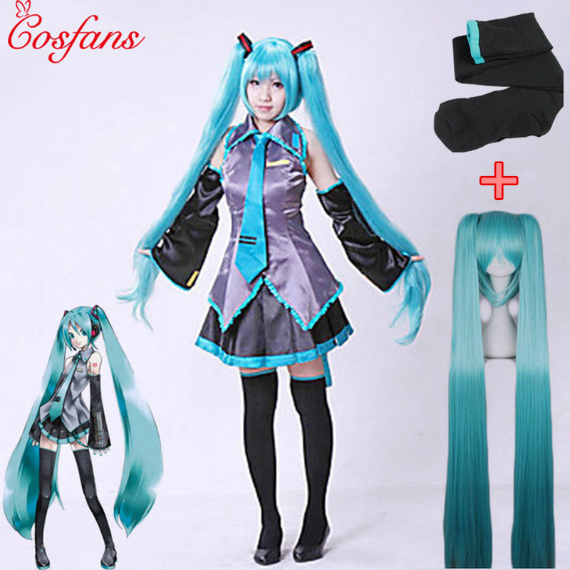 7pcs/Set Vocaloid Cosplay Hatsune Miku Cosplay Costume Outfits Anime Cosplay Harajuku Maid Dress Costumes For Halloween Party