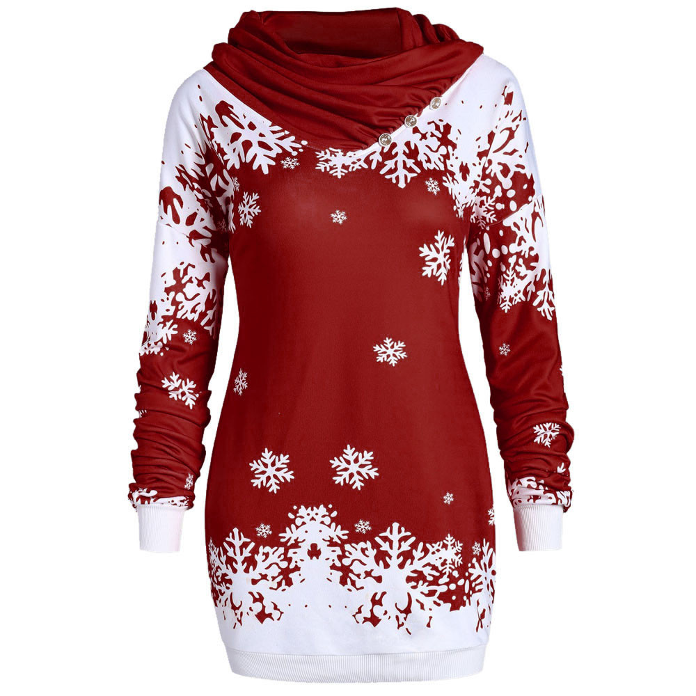 Fashion Women Hoodies Merry Christmas Snowflake Printed Tops Bow Neck Sweatshirt Low Price Promotions Slim Hoodies