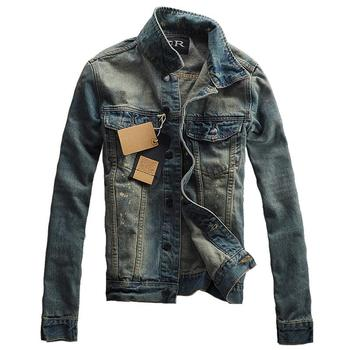 Autumn Winter Mens Denim Jacket Trendy Fashion Ripped Denim Jacket Mens Jeans Jacket Outwear Male Cowboy Coats фото
