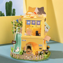 Robotime Rolife 178 pcs DIY Cat House 3D Wooden Miniature Dollhouse With Cat House Building Kit Toys for Children Birthday Gifts