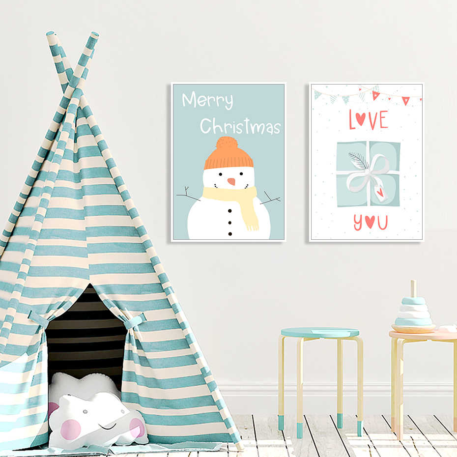 Cute Christmas Nursery Decor Kids Gift Poster Print Wall Art Canvas Painting Pictures For Baby Girls Room Home Calligraphy Aliexpress