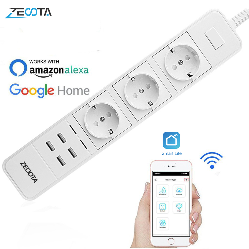 Smart Wifi Power Strip Surge Protector Multiple Sockets 4 USB Port Timer Voice Remote Control for Amazon Echo Alexa Google Home(China)