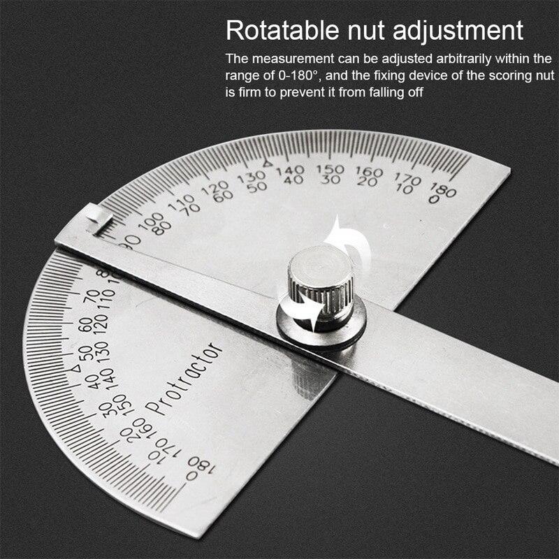 180 degrés réglable rapporteur multifonction en acier inoxydable tête ronde angle règle mathématiques outil de mesure ^ 1