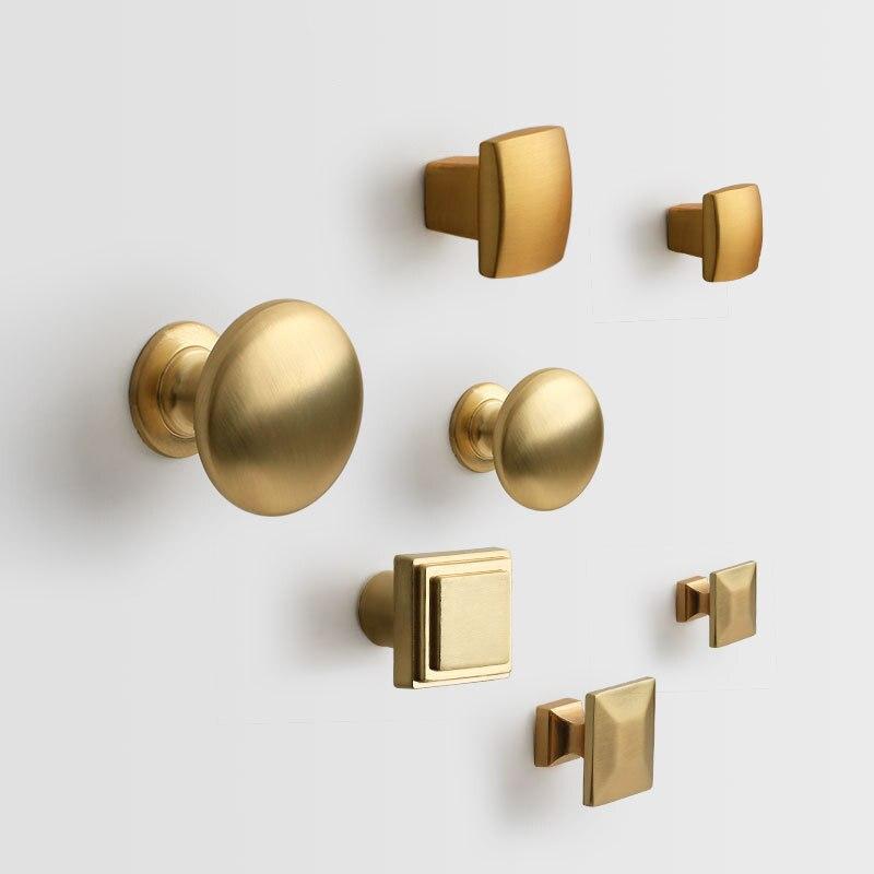 Maçanetas de porta de estilo chinês, punho redondo, cabeça quadrada, dourada, de cobre, decorativo, para móveis, alças de porta de liga de zinco