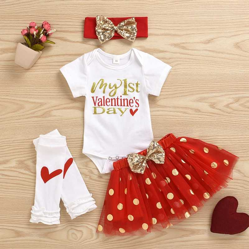 FIRST Valentine's Day Clothes 4 Pieces Set Baby Girl Bodysuit Tutu Skirt Hairband Leggings Outfits Newborn Cute Girls Jumpsuits