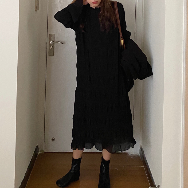 Hb2487c1bb00a440eb2c0e91ad0a2f178v - Autumn Korean O-Neck Flare Long Sleeves Chiffon Pleated Midi Dress