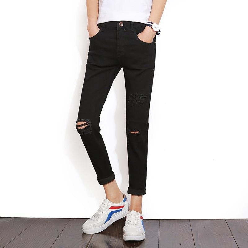 Men's Trousers Summer With Holes Capri Cowboy MEN'S Black Elasticity Slim Fit Pants Japanese-style MEN'S Jeans