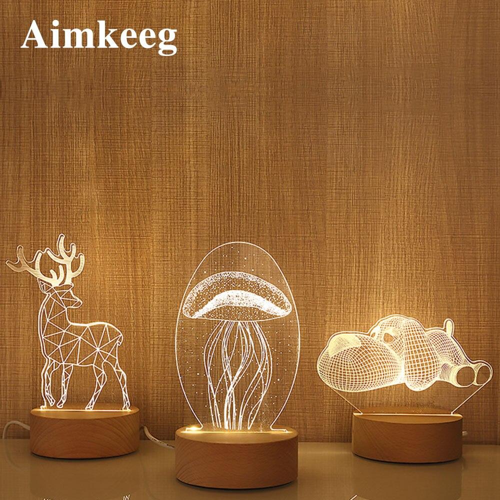 3d Cartoon Table Lamp Novelty Illusion 3d USB Led Cute Night Light Home Decor Children's Bedroom Decor Lamp Christmas Gift