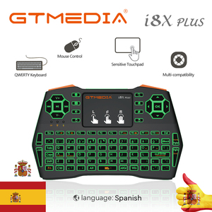 Newest Backlit i8X Plus Wireless Keyboard 2.4GHZ Spanish Air Mouse Touchpad I8 Remote For GTmedia G1 G2 GTC X96 Android TV Box