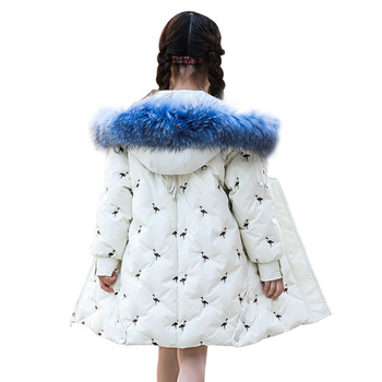 Girl winter long slim down jacket Girl windproof warm down jacket Girl princess embroidery thickened cold jacket